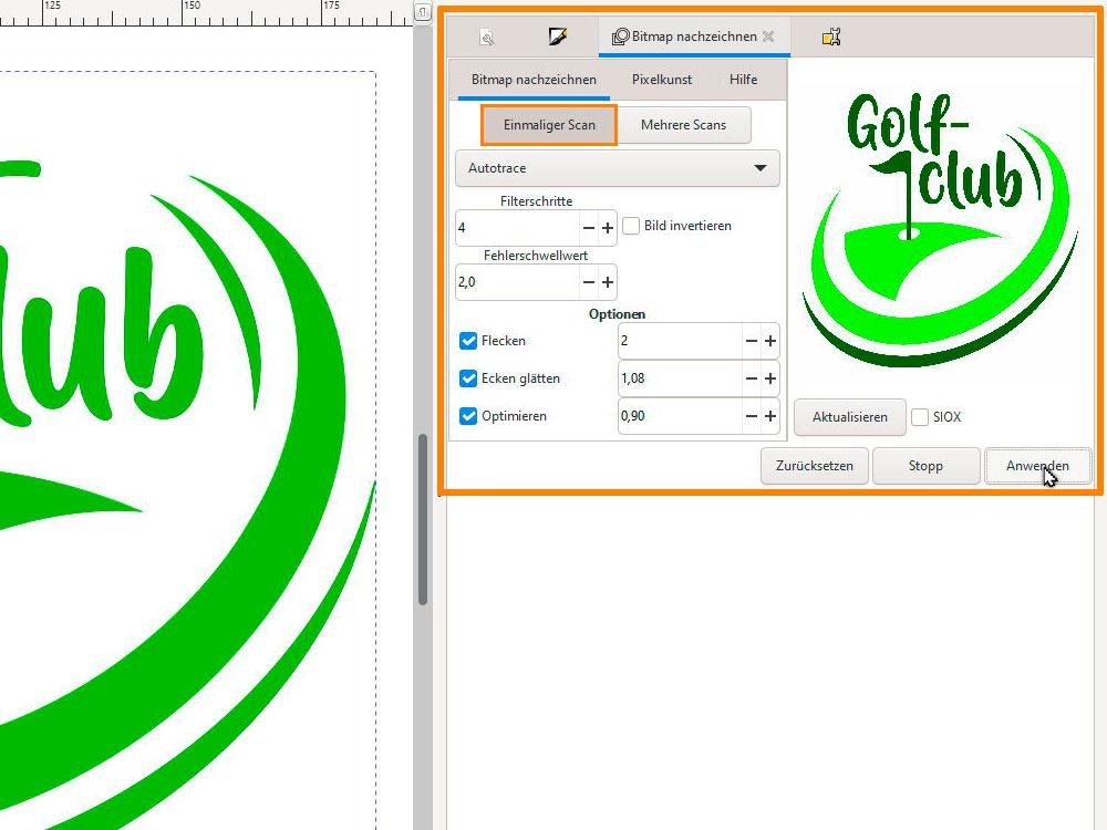 Inkscape vektorisieren mit mehrmaligem Scan