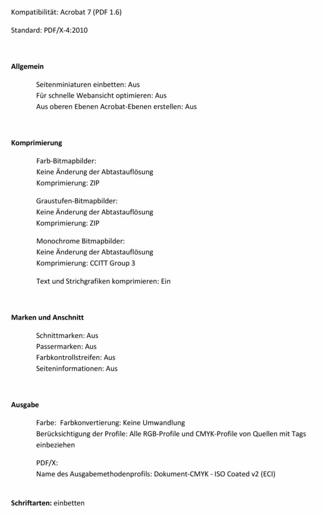 Layoutvorlage PDF Einstellung