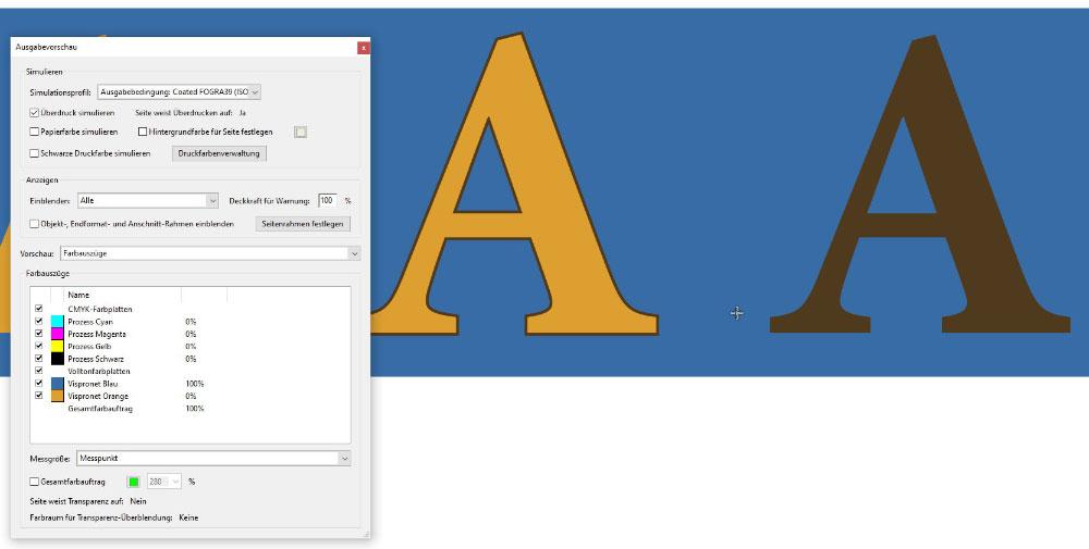 Adobe Acrobat Pro Ausgabevorschau für Überdrucken