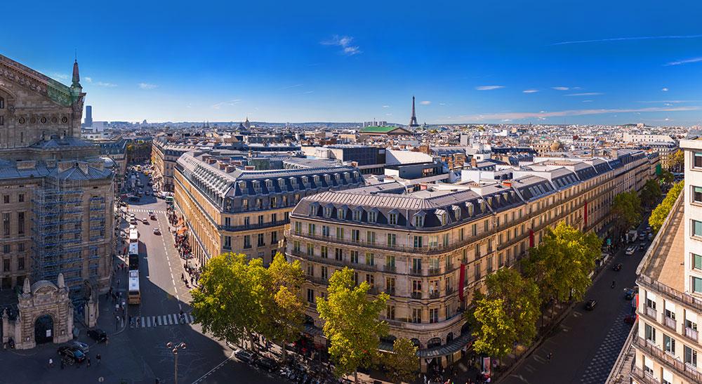 Ausblick von der Dachterasse der Galerie Lafayette