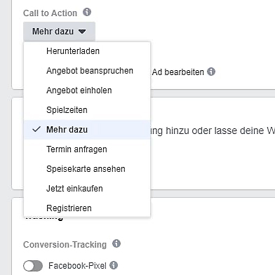 Auswahl Call to Action Buttons