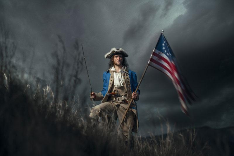 Fahne - Amerikanischer Soldat mit Fahne im Kolonialkrieg