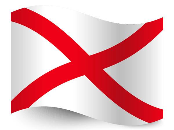 Die Fahne von Irland mit dem Patrickskreuz