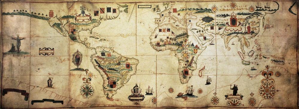 Historische Portolan Karte mit Abbildungen von Fahnen