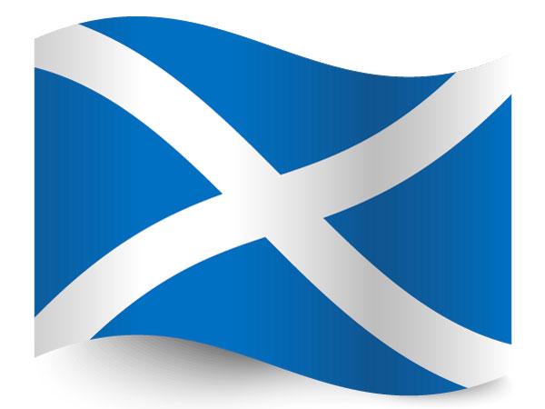 Die Fahne von Schottland mit dem Andreaskreuz