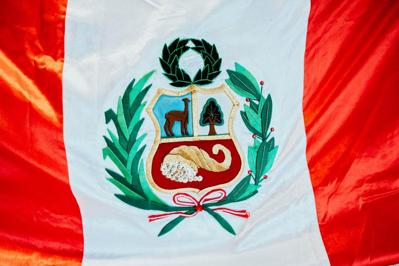 Fahne mit gesticktem Wappen