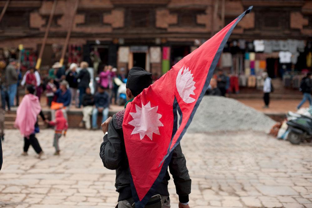 Flaggenträger Nationalflagge Nepal