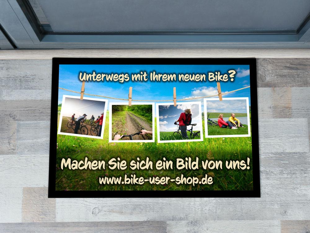 """Fussabstreicher mit Fotomotiv """"Bike-Shop"""""""