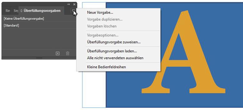 Adobe InDesign, neue Überfüllungsvorgabe anlegen