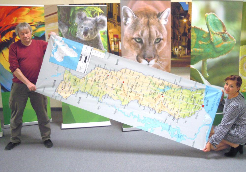 Gedruckte Landkarte von Togo