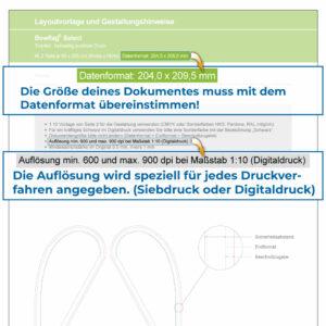 Bildauflösung & Datenformat auf der Layoutvorlage