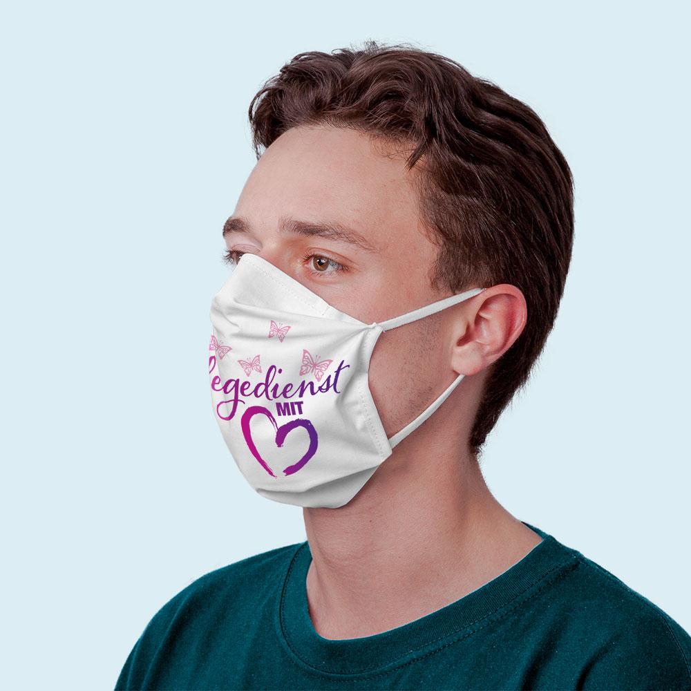 Maske mit Filter und persönlichem Motiv