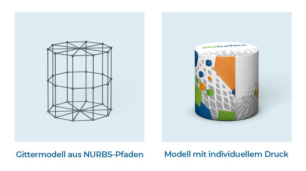 Gittermodel aus NURBS Pfaden und mit individuellem Druck