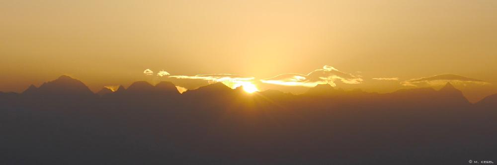 Nagarkot, Sonnenaufgang über dem Himalaya