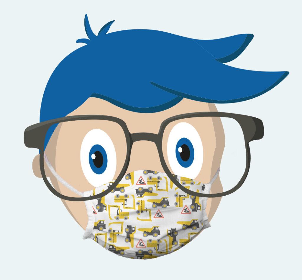 Vispronet-Nerd mit Kindermaske