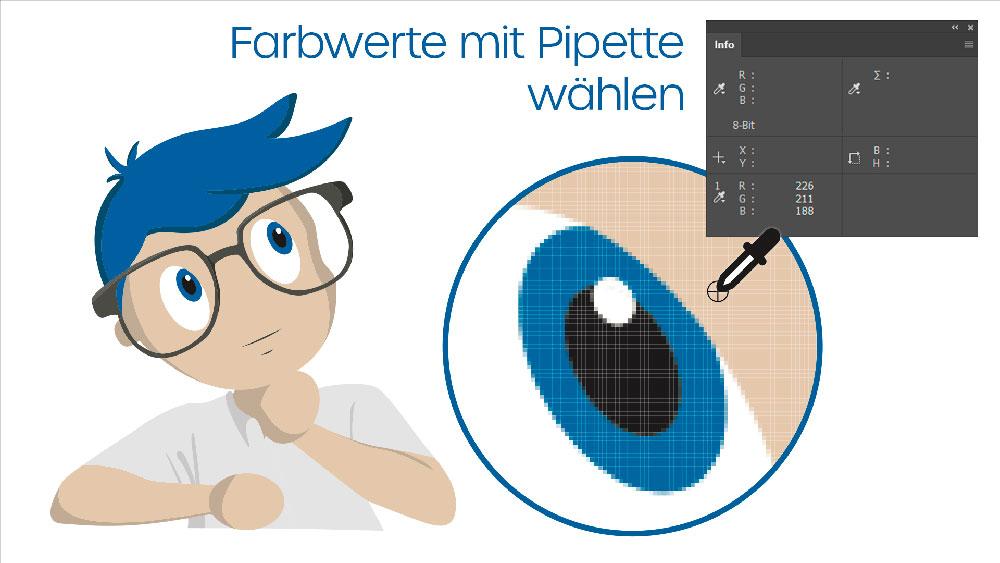Pixelbild, Farbwerte mit Pipette von einem Pixel abnehmen