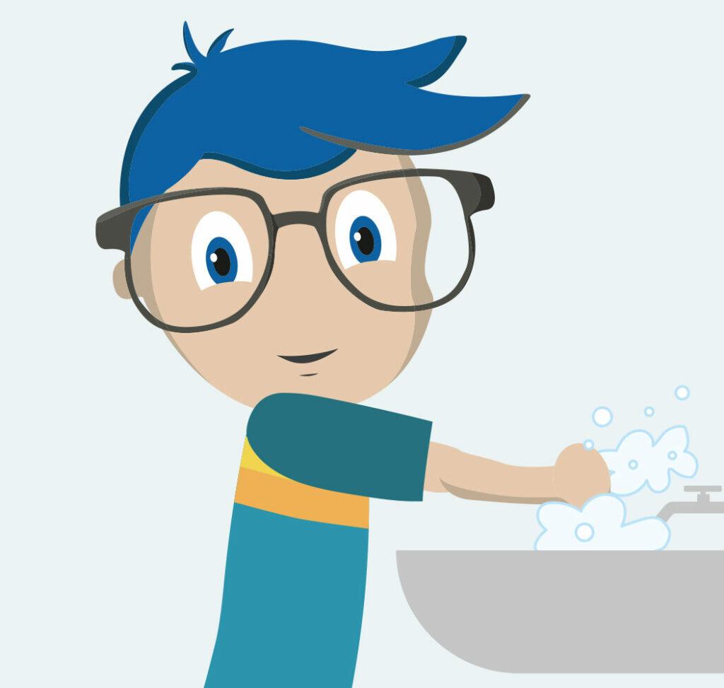 Vispronet-Nerd wäscht sich gründlich die Hände