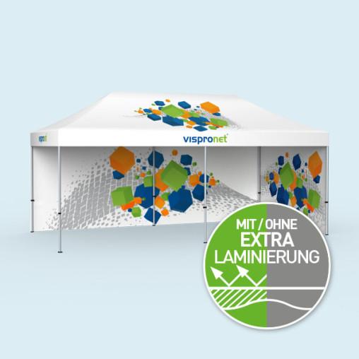 Faltzelt Select 3 x 6 m mit 2 Vollwänden (Motive innen), mit Druck
