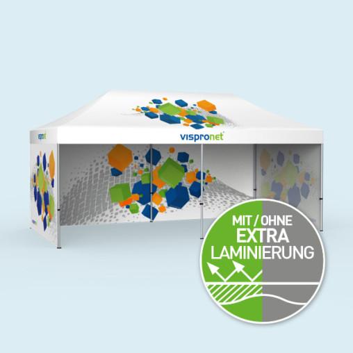 Faltzelt Select 3 x 6 m mit 3 Vollwänden (1 Motiv innen), mit Druck
