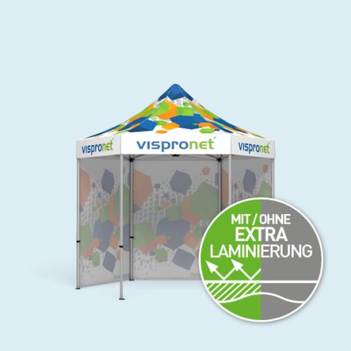 Faltzelt Select Hexagon 3 m inkl. 3 Vollwänden, mit Druck