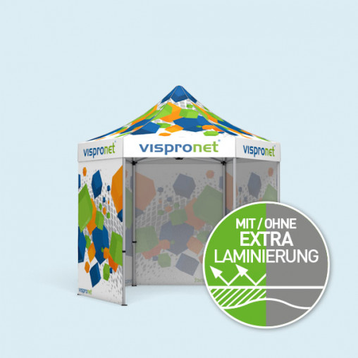 Faltzelt Select Hexagon 3 m, 4 Vollwände, mit Druck