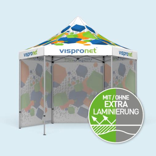 Faltzelt Select Hexagon 4 m, 3 Vollwände, mit Druck