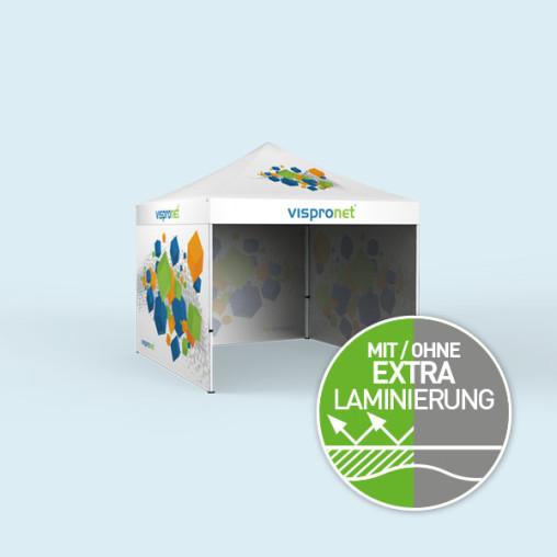 Faltzelt Eco 3 x 3 m, 3 Wände, mit Druck