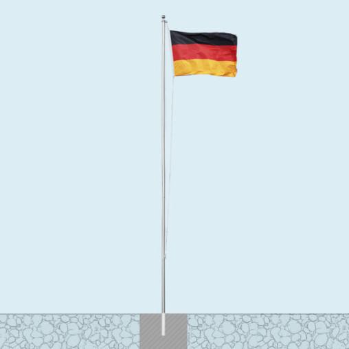 Fahnenmast Economy mit Bodenhülse und Deutschlandfahne