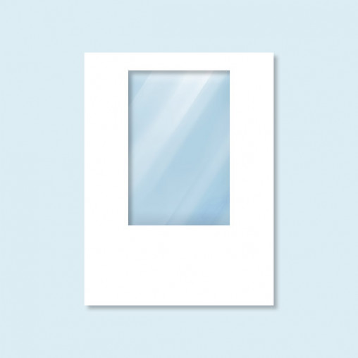 Wand Hexagon mit Fenster, weiß, ohne Druck, 150 x 200 cm