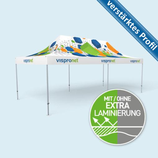 Faltpavillon Select 4 x 8 m, Dach & Volant mit Druck, ohne Zeltwände