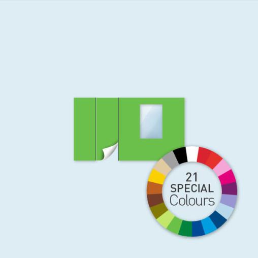Wand mit Tür links und Fenster 400 x 220 cm, in 21 Sonderfarben erhältlich
