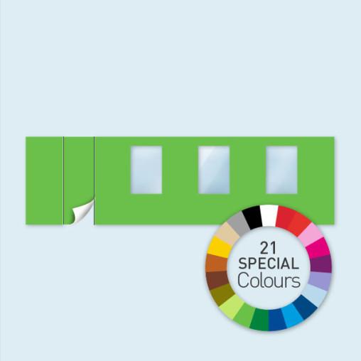 Wand mit 1 Tür links & 3 Fenstern 800 x 220 cm, in 21 Sonderfarben erhältlich