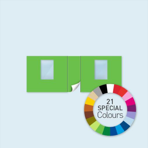 Wand mit Tür mittig & 2 Fenstern 600 x 220 cm, in 21 Sonderfarben erhältlich