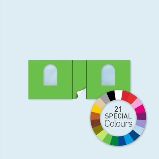 Wand m. Tür mittig & 2 Rundfenstern 600 x 220 cm, in 21 Sonderfarben erhältlich