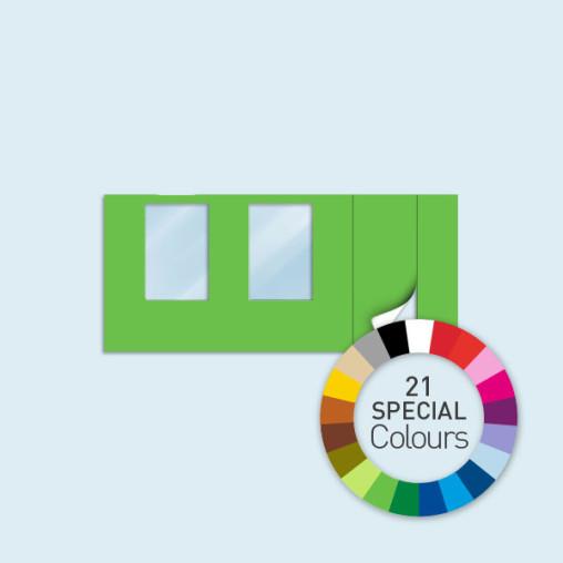Wand mit Tür rechts und 2 Fenstern 450 x 205 cm, in 21 Sonderfarben erhältlich