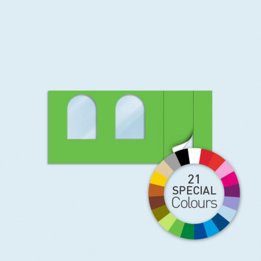 Wand m. Tür rechts & 2 Rundfenstern 450 x 205 cm, in 21 Sonderfarben erhältlich