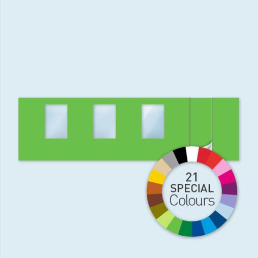 Wand m. 1 Tür rechts & 3 Fenstern 800 x 220 cm, in 21 Sonderfarben erhältlich