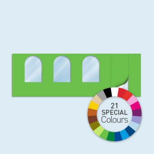 Wand m. Tür rechts & 3 Rundfenstern 600 x 205 cm, in 21 Sonderfarben erhältlich