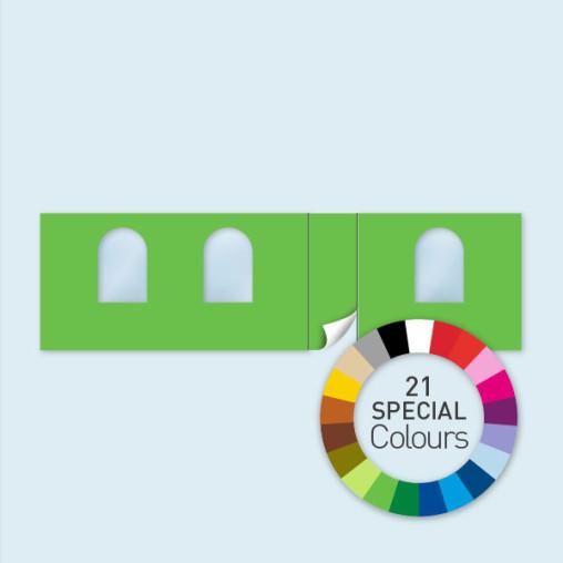 Wand m. Tür rechtsseitig & 3 Rundfenst. 800 x 220 cm, in 21 Sonderfarben erhältlich