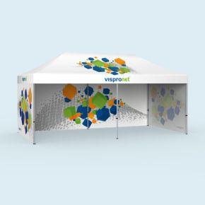 Faltzelt Basic 3 x 6 m mit 3 Vollwänden (1 Motiv innen), mit Druck