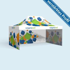 Faltzelt Select 4 x 6 m mit 3 Wänden, mit Druck