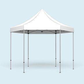 Faltpavillon Select Hexagon 4 m, Dach & Volant weiß, ohne Druck