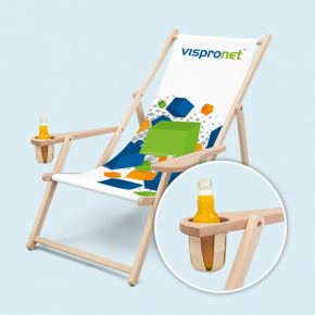 Holz-Liegestühle mit Armlehne und Getränkehalter