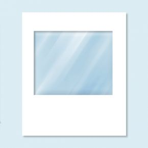 Wand Hexagon mit Panoramafenster, weiß, ohne Druck, 200 x 235 cm