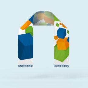 Fanschal, einlagig, mit Fransen, einseitig gestaltbar, Rückseite spiegelbildlich