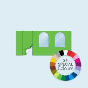 Wand mit 1 Tür links und 2 Rundfenstern Basic/Select 450 x 205 cm, in Sonderfarben, Seitenkanten mit Reißverschluss