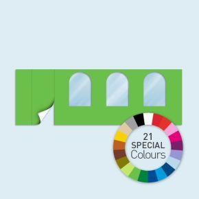 Wand mit 1 Tür links und 3 Rundfenstern Basic/Select 600 x 205 cm, in Sonderfarben, Seitenkanten mit Befestigungsschlaufen