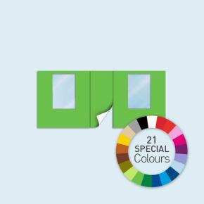 Wand mit 1 Tür mittig und 2 Fenstern Basic/Select 450 x 205 cm, in Sonderfarben, Seitenkanten mit Reißverschluss