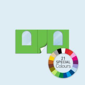 Wand mit 1 Tür mittig und 2 Rundfenstern Basic/Select 450 x 205 cm, in Sonderfarben, Seitenkanten mit Befestigungsschlaufen