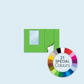 Wand mit 1 Tür rechts und 1 Fenster links Basic/Select/Eco 300 x 205 cm, in Sonderfarben, Seitenkanten mit Reißverschluss